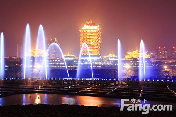 东坡岛大型音乐喷泉中秋试喷